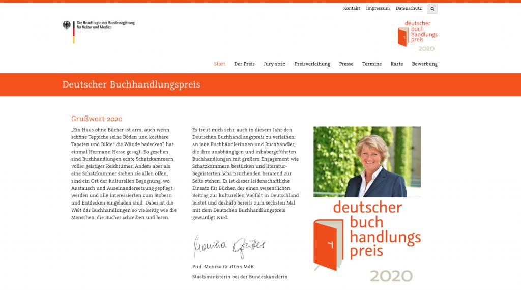 Screenshot Deutscher Buchhandlungspreis
