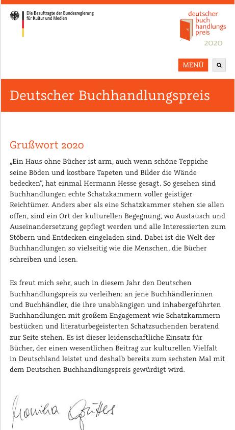 Screenshot mobil Deutscher Buchhandlungspreis